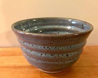 Ribbed Blue Bowl