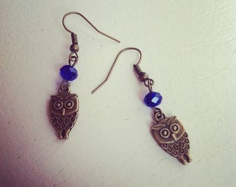 earrings for royal blue beads and bronze OWL earrings