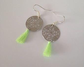 Green tassel and Silver earrings