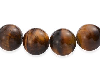 South African Tigers Eye 12-12.5mm Round Smooth Bead Strand 380.00 ct tw 16-inch