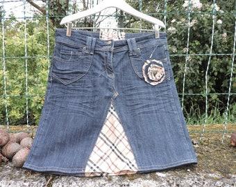 DENIM SKIRT handmade UPCYCLING (jean skirt)