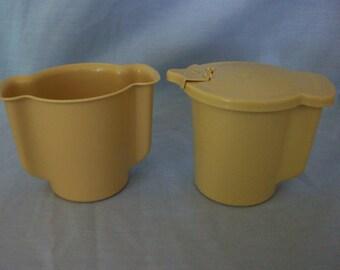 Vintage Tupperware Harvest Gold Sugar and Creamer Set, Tupperware, Sugar Bowl, Sweetner Container, Creamer
