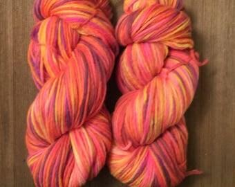 Hand Dyed Yarn  worsted weight 100% merino wool   100 grams    Starburst