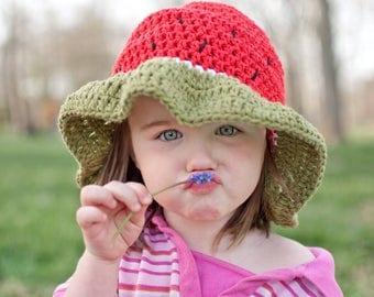Crochet Watermelon Sun Hat / Summer Hat / Breathable Cotton
