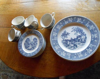 Shakespeare Country Stratwood Collection Plates 8 Plates 8 small saucers, 8 cups 24 Pieces total Stratwood Collection