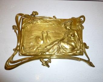 Antique Art Nouveau gilt metal wall plaque ''Leda and the swans'' circa 1900s