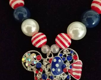 Red, white, blue Minnie Mouse necklace