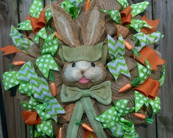 Ready to Ship! Last One! Spring Easter Bunny Carrots Burlap Deco Mesh Door Wreath