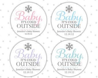 Baby its cold outside stickers - Baby its cold outside baby shower - Winter baby shower favors stickers (RW089)