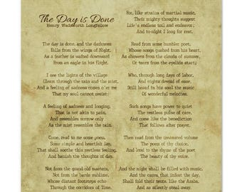 The Day is Done, by Henry Wadsworth Longfellow Print