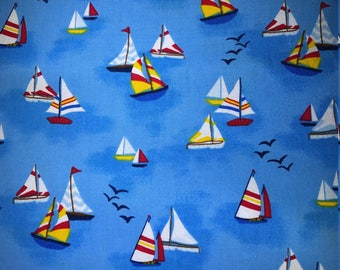 Fabric with sailing boats