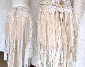 Boho beach wedding skirt,fairy airy trashed skirt, ragged antique fabric, RawRags ,white and cream romantic , shabby chic, trashy treasure