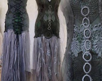 Boho Wedding dress for fairies,bridal dress wearable art,green dress ,eco friendly unique dress,farm wedding dress, elven boho unique dress