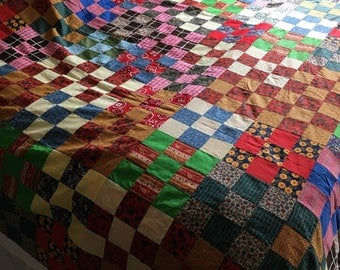 Extra Large Vintage Multicolored Patchwork Quilt Top - Finish or Repurpose - 90x106 - Sewing Room Destash