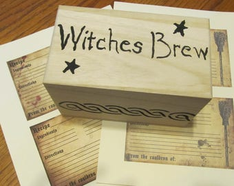 Witches Brew Recipe Box with Witchy Recipe Cards