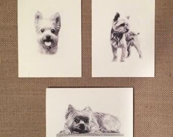 Set of 6 or 12 Handmade Blank Yorkshire Terrier Yorkie Print Note Cards #2