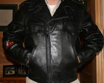 Authentic Leather Police Motorcycle Jacket