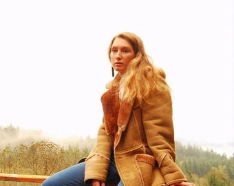 Summer SALE Vintage Suede Shearling Coat, 70's Hippie Sheepskin Coat, Fall Winter Boho Fur Lined Suede Leather Coat, 1970's Tan Lambskin Lea