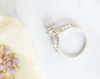 Vintage Engagement Ring - Promise Ring - Downton Abbey Jewelry - 1920s Antique Rhinestone Ring - Signed Vintage Jewelry - GIft For Her