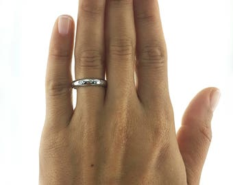 Free Shipping, Diamond Wedding Ring, White Gold Pave Diamond Ring, 14K PLATINUM, Diamond Eternity Ring, Diamond Eternity Band, Unique Style