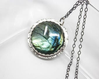 Labradorite Fine Silver Necklace - GD321