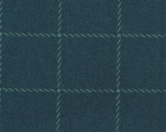 "Flannel Fabric, Wool & Needle Flannels III, Blue Plaid, Primitive Gatherings, Moda Fabrics, End of the Bolt 22"", 1130 17F"