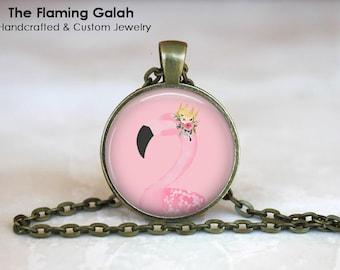 PINK FLAMINGO with FLOWERS Pendant •  Vintage Flamingo •  Topical Bird •  Florida Flamingo • Gift Under 20 • Made in Australia (P1278)