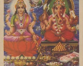 Lakshmi & Ganesh ... Vintage Indian devotional print