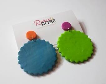 Bonnie Biscuit - blue, bright green, orange and magenta