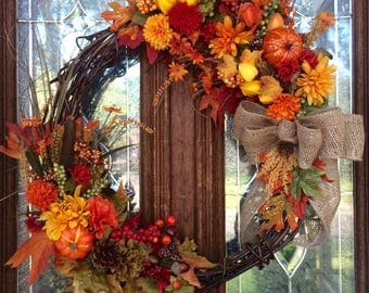 HOT for August SALE - Fall Wreath, Halloween, Thanksgiving Wreath - Take 25.00 off with coupon code HOT25 at checkout