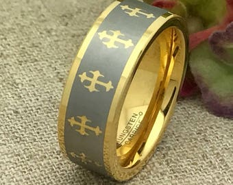 8mm Cross Ring. Tungsten Wedding Ring, Personalized Yellow Gold Plated with Laser Engrave Cross Design, Unisex Ring, Free Engraving