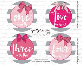 Month by Month Baby Girl Stickers - Pink Bows with Grey & White Stripes