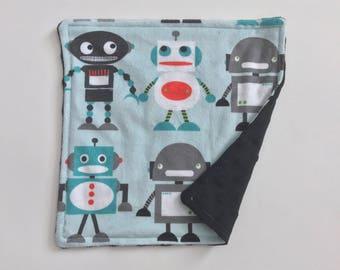 READY TO SHIP Minky Lovey - Robots with Black Minky