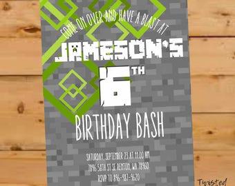Minecraft Birthday Invitation, Minecraft Birthday Invite, Minecraft Invite, Minecraft Party, Video Game Party Invite, Mine Themed Party