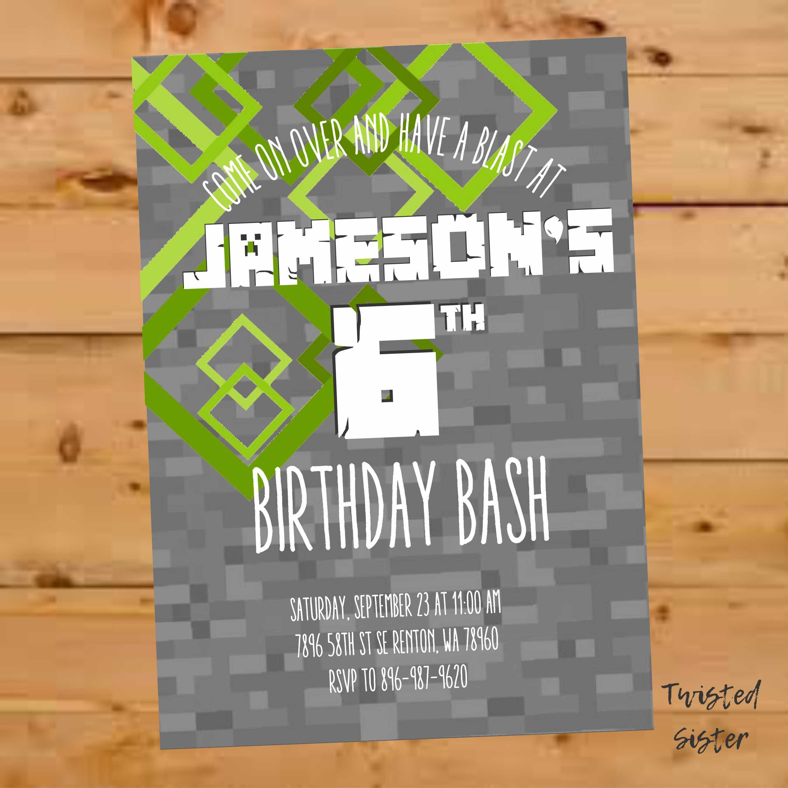 Minecraft Birthday Invitation Minecraft Birthday Invite