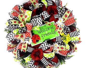 LadyBug mesh wreath-deco mesh wreath-black-white-red-lime-welcome wreath-summer wreath-polka dot-ladybug-wired ribbon-chevron-stripes