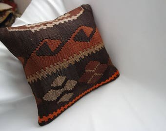 "Multi-coloured hand woven Turkish kilim pillow cover,teppich kissen,wasaddatan-16""X16""dimensions -A8"