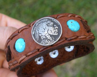 Cuff Bison leather wristband  customize size cuff Bracelet Vintage Buffalo Indian Nickel  coin turquoise nice gift FSU fans tribal rustic