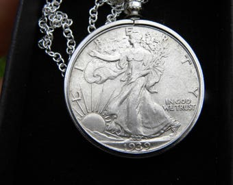 1939 authentic circulated old  silver walking liberty half dollar coin necklace pendant 16 or 18 or 20 or 24 or 30 sterling silver chain