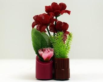 Maroon + Magenta Triad Vase - Miniature Modern decor, 1/12 or 1/6 scale