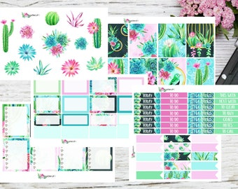 Planner sticker cactus kit for Erin Condren and Happy Planner