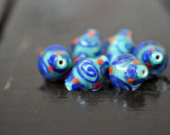 Blue Handmade Bicone Lampwork Glass Beads, 6pcs