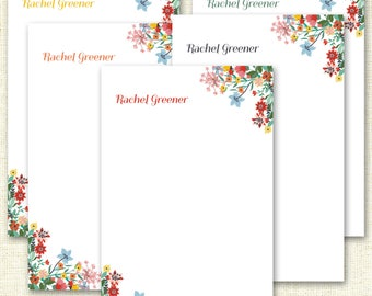 Personalized Stationery Notepads - Vibrant Floral - Personalized Notepad - 25 Pages