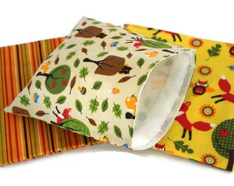 Reusable Snack Bags, Set of Lunch Bags,  Sandwich Bags in Woodland Creatures