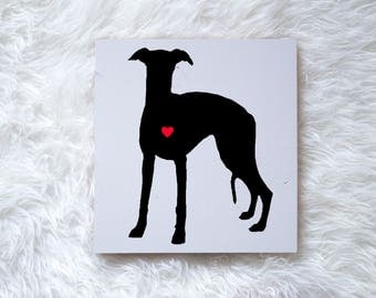 Hand Painted Whippet Dog Silhouette on Painted Grey Wood, Dog Decor Dog Painting, Gift for Dog People, New Puppy, Housewarming