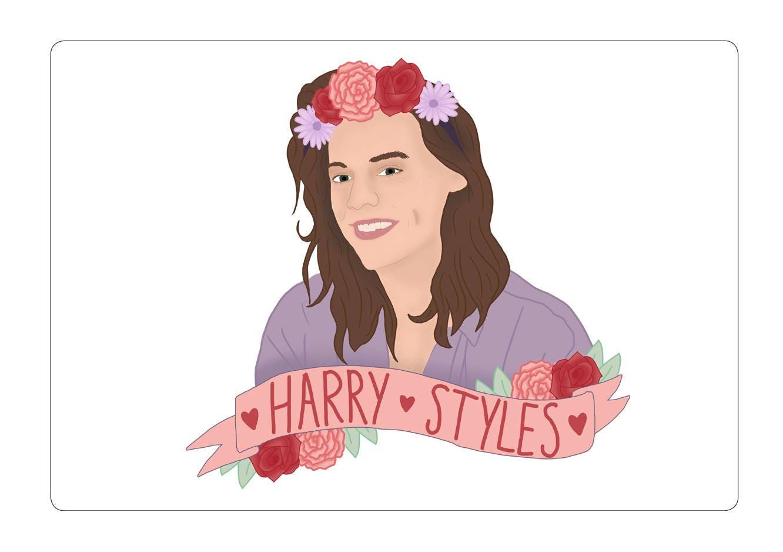 Harry styles flower crown drawing flower crown sticker one direction harry styles stationery izmirmasajfo