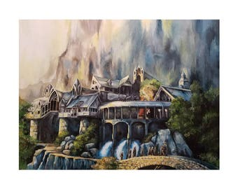 Rivendell and The Fellowship of the Ring - Tolkien Lord of the Rings LOTR / Hobbit Art Print (unframed)