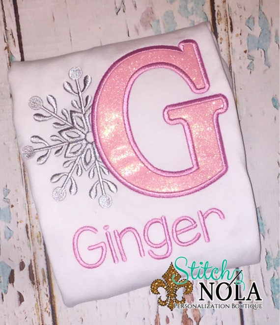 Snowflake Alpha T-Shirt, Romper or Bodysuit, snowflake appliqué, snowflake shirt, winter appliqué, snowflake birthday, snowflake