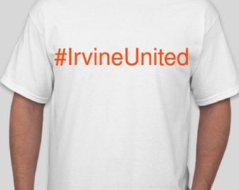 Irvine United Tee Shirt White - Orange Font - Event Shirt - MONDAY PICK UP
