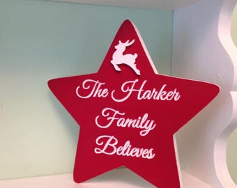 Christmas decoration personalised Christmas star freestanding